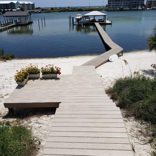 Walkway in Endeck PVC decking Sure Step on Pier